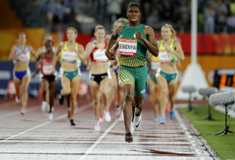 FILE - In this Tuesday, April 10, 2018 file photo South Africa's Caster Semenya runs to the finish line to win the women's 1500m final at Carrara Stadium during the 2018 Commonwealth Games on the Gold Coast, Australia. Caster Semenya lost her appeal Wednesday May 1, 2019 against rules designed to decrease naturally high testosterone levels in some female runners. (AP Photo/Mark Schiefelbein, File)