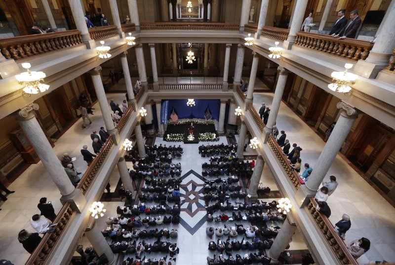 Hundreds of mourners gathered at a memorial service honoring former U.S. Sen. Birch Bayh at the Indiana Statehouse in Indianapolis, Wednesday, May 1, 2019. Bayh died in March at the age of 91. The Democrat represented Indiana in the Senate for 18 years until he lost his 1980 re-election bid.(AP Photo/Michael Conroy)