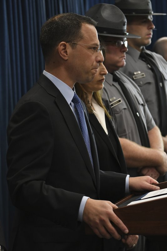 Pennsylvania's attorney general, Josh Shapiro, listens to a question at a news conference in his office headquarters, Wednesday, May 1, 2019 in Harrisburg, Pa. Shapiro announced that a Pennsylvania doctor, Dr. William Vollmar, already charged with sexually assaulting a man during an office visit faces new allegations he sexually assaulted four other patients, including a student. (AP Photo/Marc Levy)