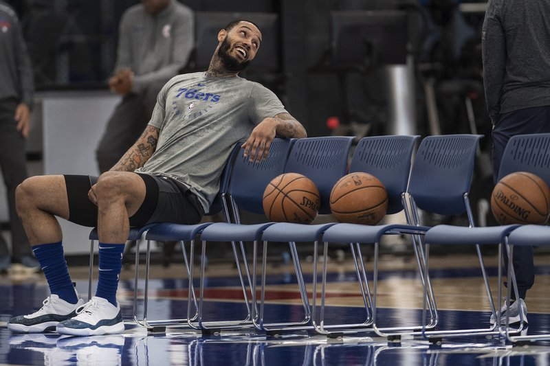 Philadelphia 76ers' Mike Scott laughs during practice during practice at the 76ers practice complex in Camden, N.J., Wednesday, May 1, 2019. Game 3 of the Eastern Conference semifinals between the 76ers and Toronto Raptors is Thursday in Philadelphia. (Jose F. Moreno/The Philadelphia Inquirer via AP)