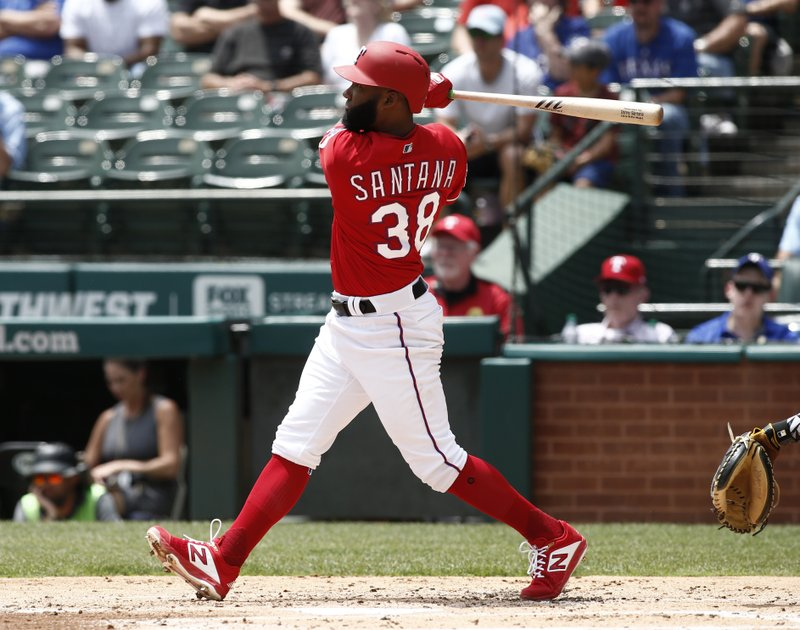 Texas Rangers' Danny Santana hits a double to drive in a run against the Pittsburgh Pirates during the second inning of a baseball game Wednesday May 1, 2019, in Arlington, Texas. (AP Photo/Mike Stone)
