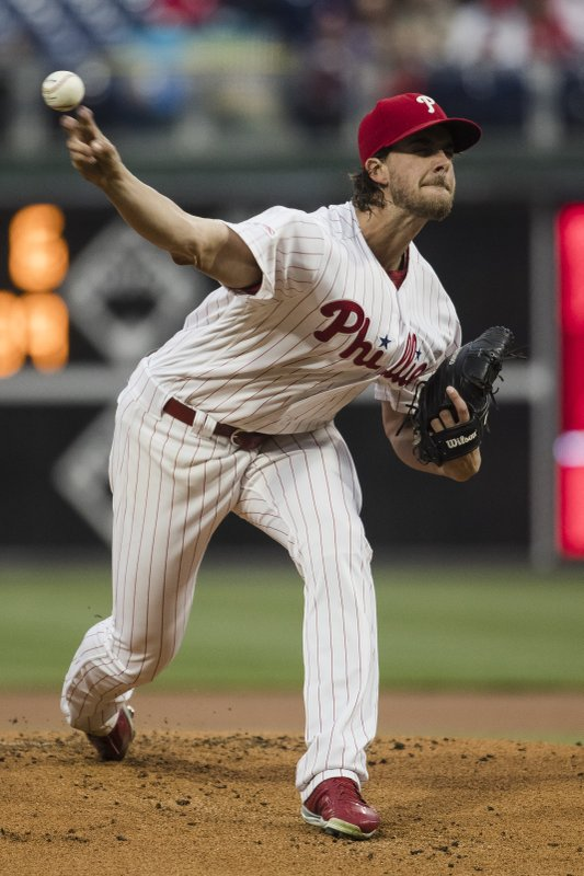 Philadelphia Phillies' Aaron Nola pitches during the first inning of a baseball game against the Detroit Tigers, Wednesday, May 1, 2019, in Philadelphia. (AP Photo/Matt Rourke)