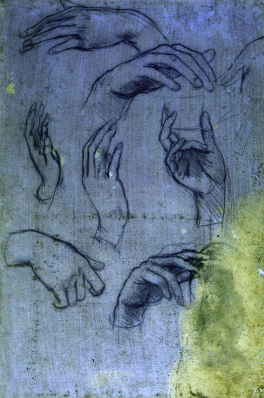 This undated handout provided by The Royal Collection Trust shows studies of hands for the Adoration of the Magi, by Leonardo da Vinci , as seen under ultraviolet light which forms part of the Royal Collection, at Windsor Castle in Windsor, England. The newly identified sketch will go on public display for the first time later this month in Leonardo da Vinci: A Life in Drawing at The Queen's Gallery, Buckingham Palace in London between May 24 - Oct. 13, 2019. (The Royal Collection Trust via AP)
