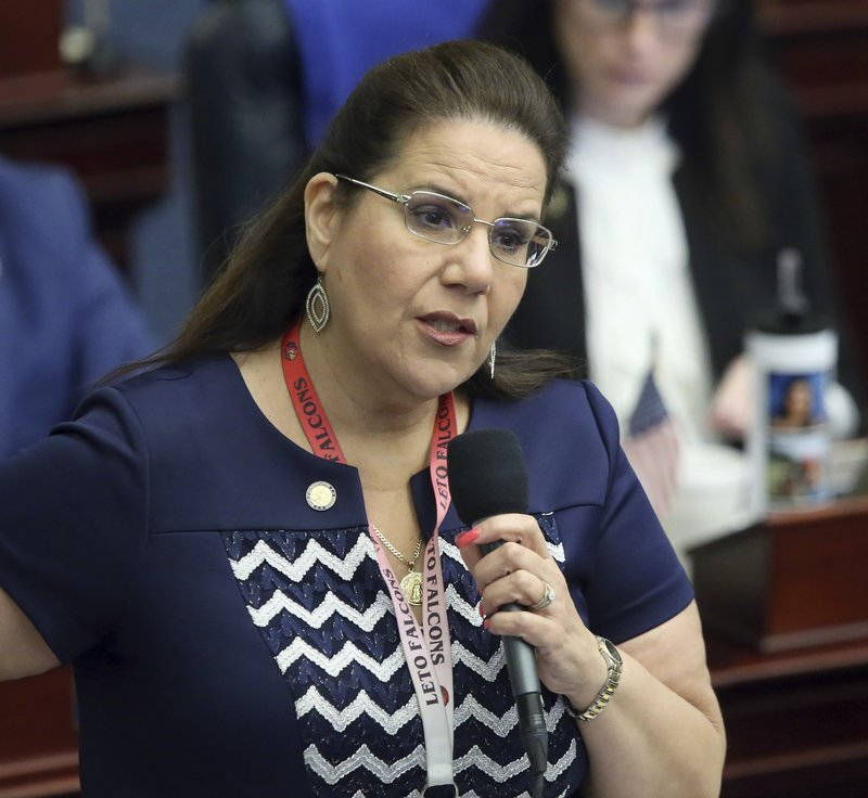 Rep. Susan Valdes, D-Tampa, debates on a bill to allow teachers to be armed during session Wednesday May 1, 2019, in Tallahassee, Fla. (AP Photo/Steve Cannon)