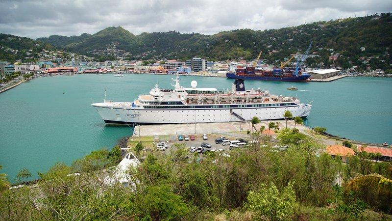 The Freewinds cruise ship is docked in the port of Castries, the capital of St. Lucia, Thursday, May 2, 2019. Authorities in the eastern Caribbean island have quarantined the ship after discovering a confirmed case of measles aboard. (AP Photo/Bradley Lacan)
