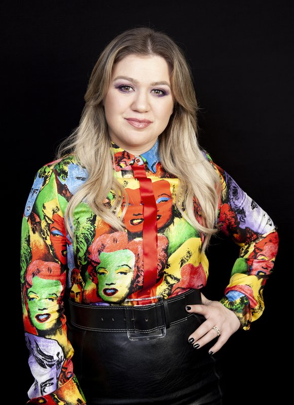 This April 14, 2019 photo shows singer and actress Kelly Clarkson posing for a portrait at the Four Seasons Hotel in Los Angeles to promote her animated film