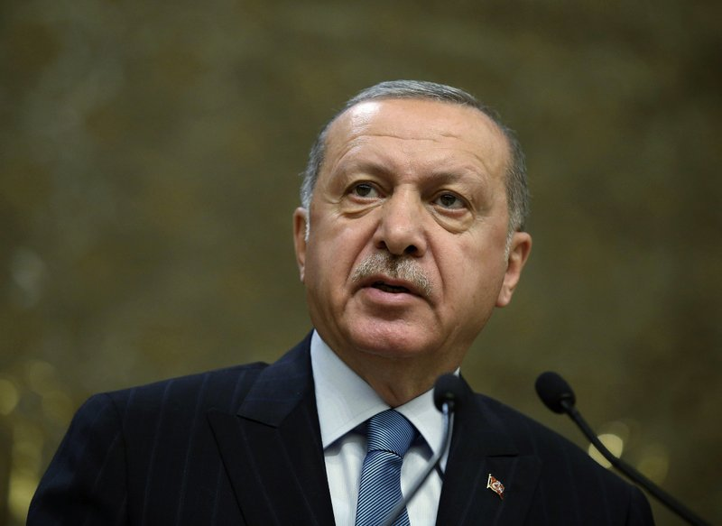 FILE - In this Tuesday, April 30, 2019 file photo, Turkey's President Recep Tayyip Erdogan speaks during a meeting in Ankara, Turkey. The death toll from the Christchurch mosque attacks has risen to 51 after a Turkish man who had been hospitalized since a gunman opened fire on worshippers seven weeks ago died overnight, authorities in New Zealand and Turkey confirmed, Friday, May 3, 2019. Relations between Turkey and New Zealand have been strained since the March 15 attack after Turkish President Recep Tayyip Erdogan showed clips of a livestream video taken by the gunman at election campaigns to denounce hatred against Islam. (Presidential Press Service via AP, Pool, File)