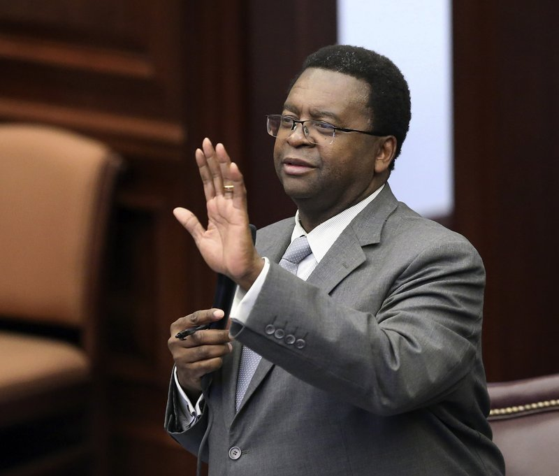 Sen. Perry Thurston, D-Fort Lauderdale, debates on an immigration bill during session, Thursday May 2, 2019, in Tallahassee, Fla. (AP Photo/Steve Cannon)