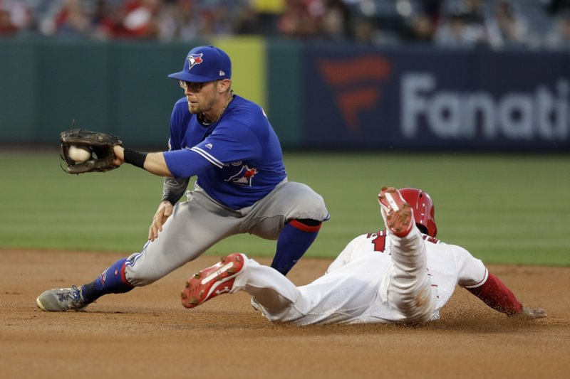 Los Angeles Angels' Brian Goodwin, right, steals second past Toronto Blue Jays second baseman Eric Sogard during the first inning of a baseball game in Anaheim, Calif., Thursday, May 2, 2019. (AP Photo/Chris Carlson)