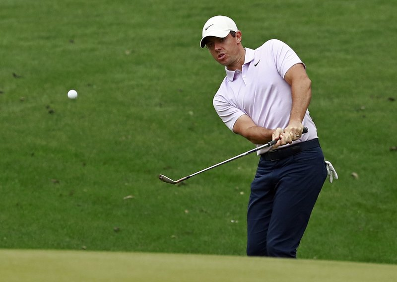 Rory McIlroy, of Northern Ireland, chips to the 15th hole during the second round of the Wells Fargo Championship golf tournament at Quail Hollow Club in Charlotte, N.C., Friday, May 3, 2019. (AP Photo/Jason E. Miczek)
