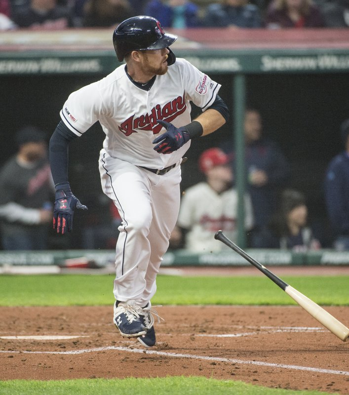 Cleveland Indians' Jordan Luplow watches his double off Seattle Mariners starting pitcher Yusei Kikuchi during the fourth inning of a baseball game in Cleveland, Friday, May 3, 2019. (AP Photo/Phil Long)