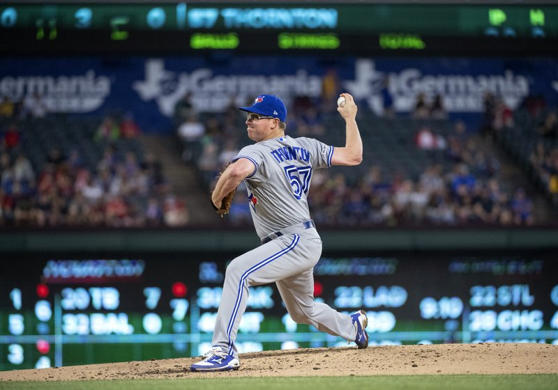 Toronto Blue Jays starting pitcher Trent Thornton works against the Texas Rangers during the fourth inning of a baseball game Friday, May 3, 2019, in Arlington, Texas. (AP Photo/Jeffrey McWhorter)