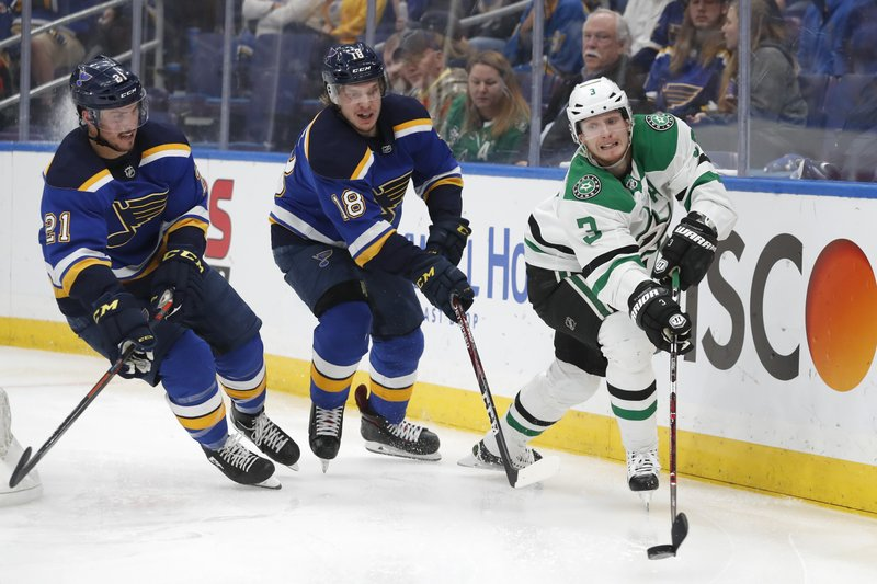 Dallas Stars defenseman John Klingberg (3), of Sweden, moves the puck ahead of St. Louis Blues' Tyler Bozak (21) and Robert Thomas (18) during the second period in Game 5 of an NHL second-round hockey playoff series Friday, May 3, 2019, in St. Louis. (AP Photo/Jeff Roberson)
