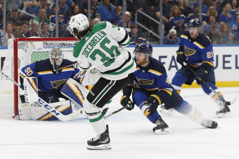 Dallas Stars center Matts Zuccarello (36), of Norway, shoots against St. Louis Blues goaltender Jordan Binnington (50) during the third period in Game 5 of an NHL second-round hockey playoff series Friday, May 3, 2019, in St. Louis. (AP Photo/Jeff Roberson)