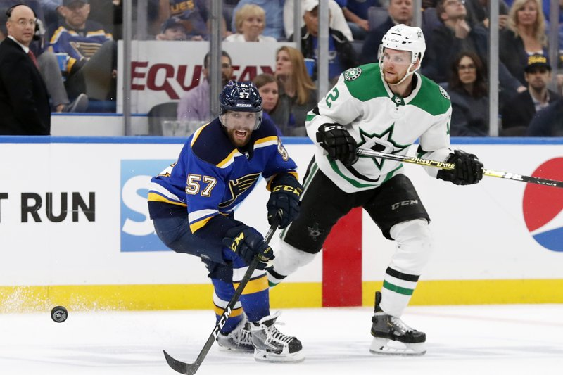 St. Louis Blues left wing David Perron (57) and Dallas Stars center Radek Faksa (12), of the Czech Republic, chase the puck during the third period in Game 5 of an NHL second-round hockey playoff series Friday, May 3, 2019, in St. Louis. (AP Photo/Jeff Roberson)
