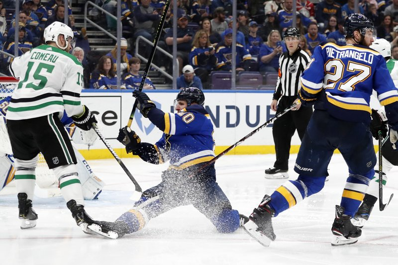 St. Louis Blues left wing Alexander Steen (20) loses his balance as he defends against Dallas Stars left wing Blake Comeau (15) during the third period in Game 5 of an NHL second-round hockey playoff series Friday, May 3, 2019, in St. Louis. (AP Photo/Jeff Roberson)