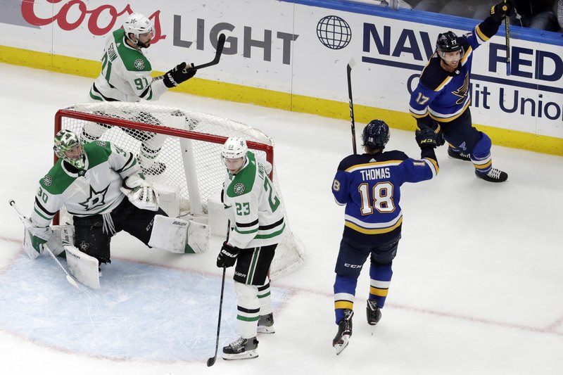 St. Louis Blues left wing Jaden Schwartz (17) and center Robert Thomas (18) celebrate after Schwartz scored a goal against Dallas Stars goaltender Ben Bishop (30) during the third period in Game 5 of an NHL second-round hockey playoff series Friday, May 3, 2019, in St. Louis. (AP Photo/Jeff Roberson)