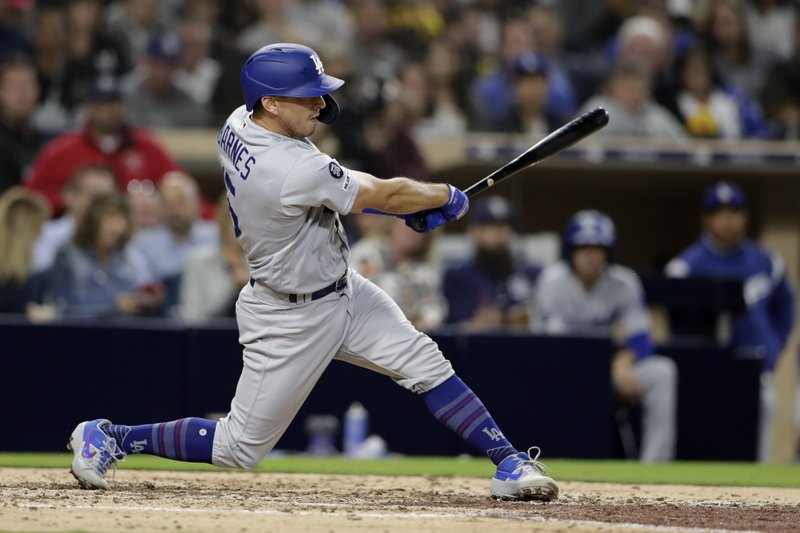 Los Angeles Dodgers' Austin Barnes follows through on a home run during the seventh inning of the team's baseball game against the San Diego Padres, Friday, May 3, 2019, in San Diego. (AP Photo/Gregory Bull)