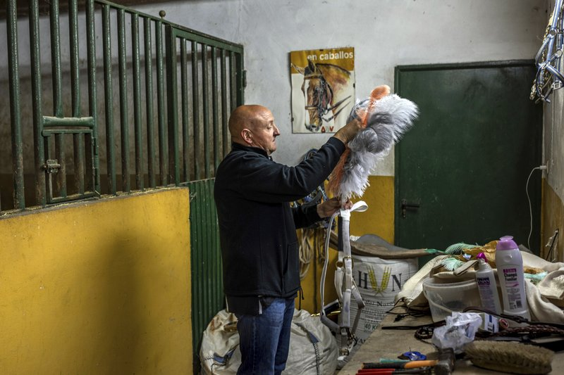 In this Thursday, May 2, 2019 photo, Juan Antonio Sanchez prepares ornaments for Rociero, a Spanish pure breed during the annual fiesta called