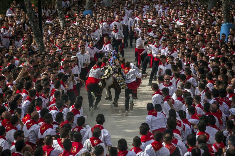 In this Thursday, May 2, 2019 photo, a troupe and their richly decorated horse make their way amid the crowd during the