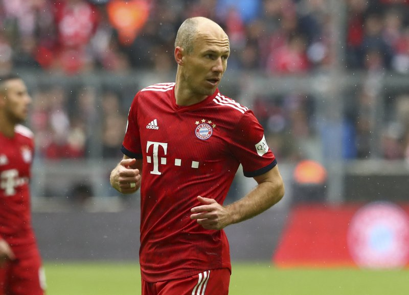 Bayern's Arjen Robben looks on during the German Bundesliga soccer match between FC Bayern Munich and Hannover 96 in Munich, Germany, Saturday, May 4, 2019. (AP Photo/Matthias Schrader)