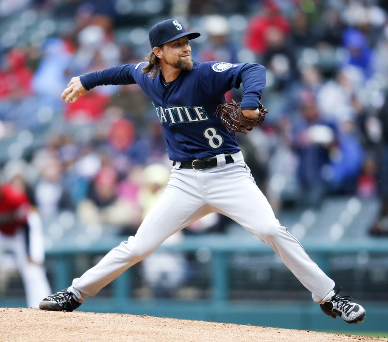 Seattle Mariners starting pitcher Mike Leake delivers against the during the first inning of a baseball game, Saturday, May 4, 2019, in Cleveland. (AP Photo/Ron Schwane)