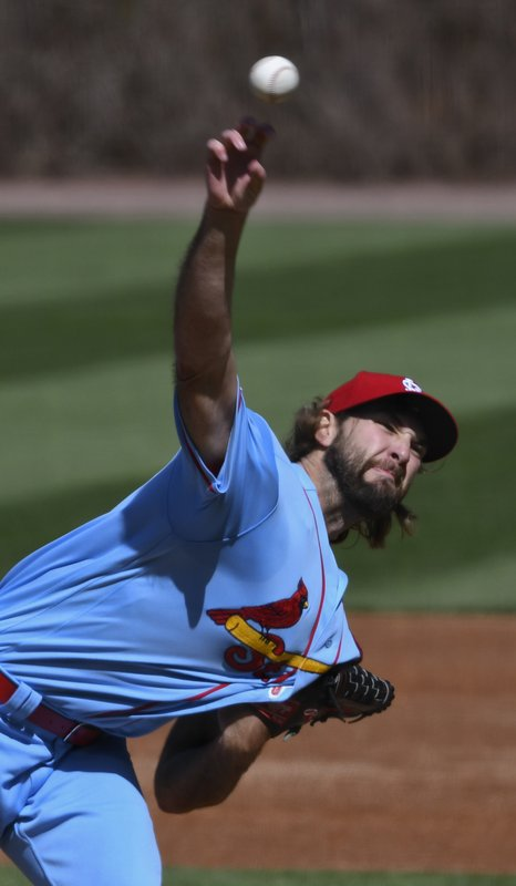 St. Louis Cardinals starting pitcher Michael Wacha (52) delivers during the first inning of a baseball game against the Chicago Cubs, Saturday, May 4, 2019, in Chicago. (AP Photo/Matt Marton)