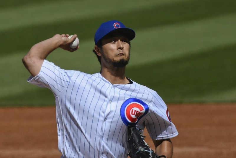 Chicago Cubs starting pitcher Yu Darvish (11) delivers during the first inning of a baseball game against the St. Louis Cardinals, Saturday, May 4, 2019, in Chicago. (AP Photo/Matt Marton)