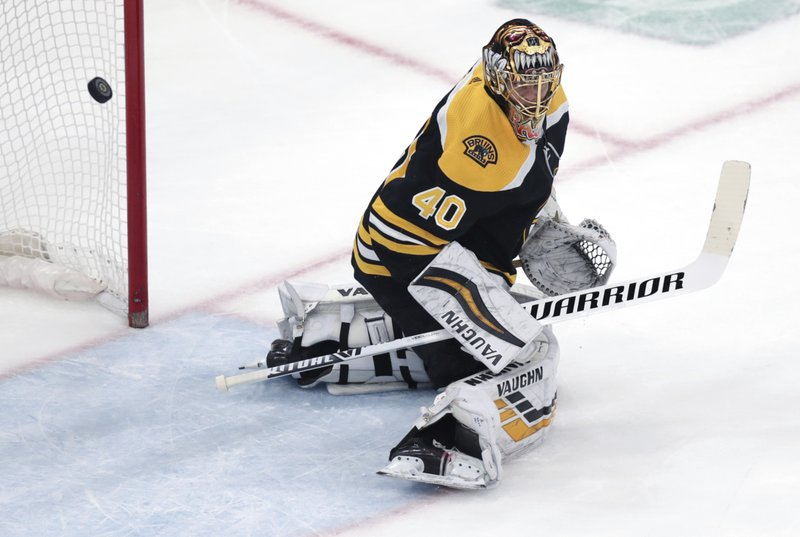 Boston Bruins goaltender Tuukka Rask makes a save against the Columbus Blue Jackets during the first period of Game 5 of an NHL hockey second-round playoff series, Saturday, May 4, 2019, in Boston. (AP Photo/Charles Krupa)