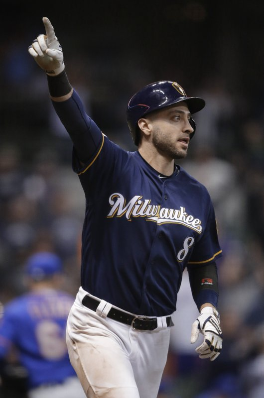 Milwaukee Brewers' Ryan Braun gestures after hitting a two-run single against the New York Mets during the 18th inning of a baseball game Saturday, May 4, 2019, in Milwaukee. The Brewers won 4-3.(AP Photo/Jeffrey Phelps)