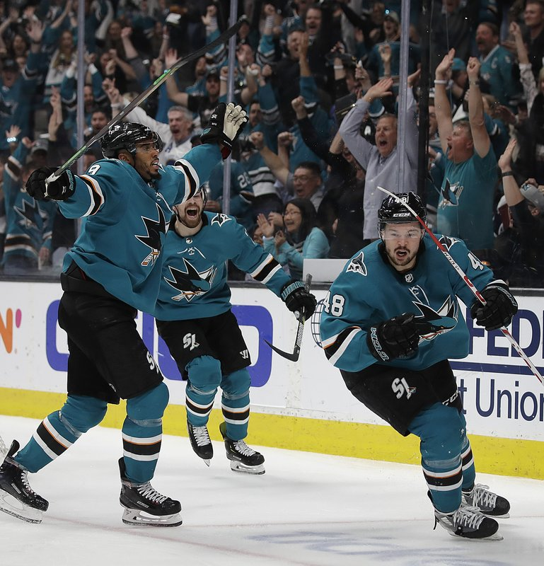 San Jose Sharks' Evander Kane, left, and Joonas Donskoi celebrate a goal by Tomas Hertl (48) during the third period of Game 5 of the team's NHL hockey second-round playoff series against the Colorado Avalanche on Saturday, May 4, 2019, in San Jose, Calif. (AP Photo/Ben Margot)