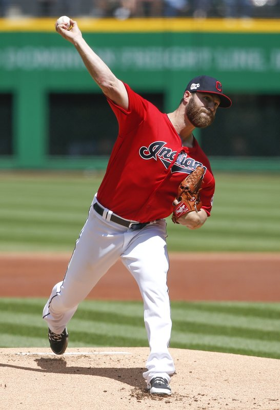 Cleveland Indians starting pitcher Cody Anderson delivers against the Seattle Mariners during the first inning of a baseball game, Sunday, May 5, 2019, in Cleveland. (AP Photo/Ron Schwane)