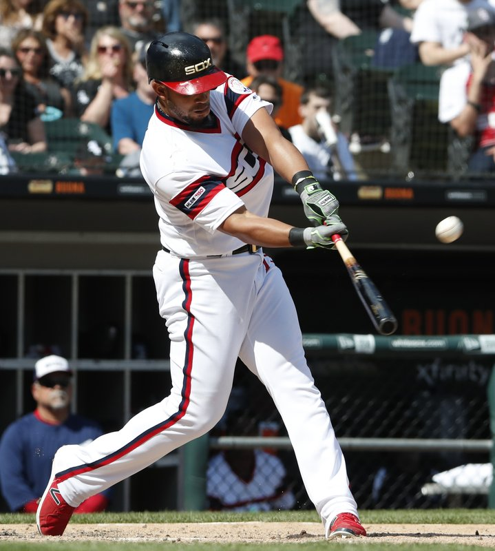 Chicago White Sox's Jose Abreu hits a home run against the Boston Red Sox during the sixth inning of a baseball game in Chicago, Sunday, May 5, 2019. (AP Photo/Jeff Haynes)