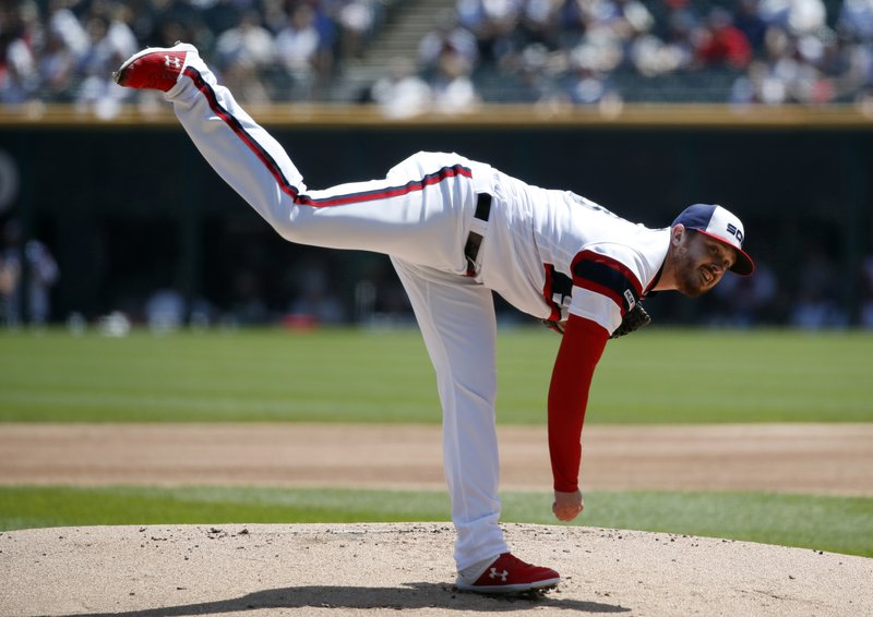 Chicago White Sox starting pitcher Dylan Covey delivers during the first inning of a baseball game against the Boston Red Sox in Chicago, Sunday, May 5, 2019. (AP Photo/Jeff Haynes)