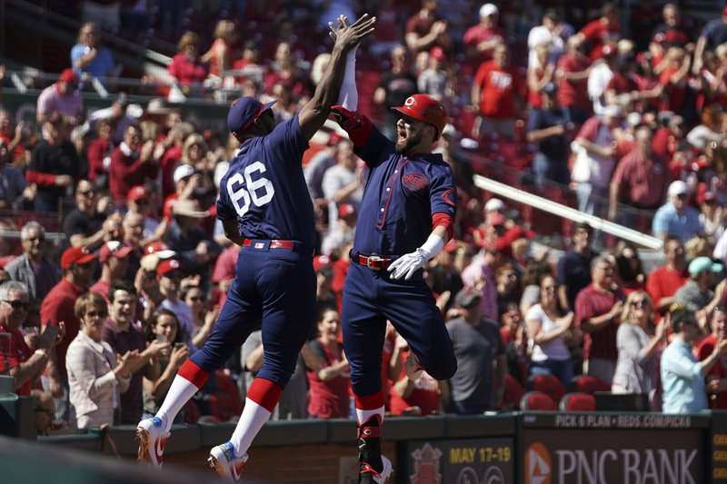 Cincinnati Reds' Jesse Winker, right, celebrates with teammate Yasiel Puig, left, after hitting a home run in the first inning of a baseball game against the San Francisco Giants, Sunday, May 5, 2019, in Cincinnati. (AP Photo/Aaron Doster)