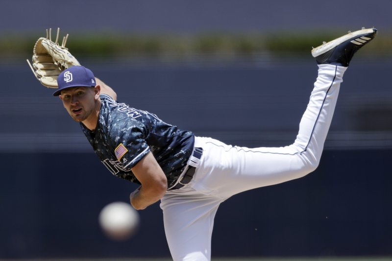 San Diego Padres starting pitcher Nick Margevicius works against a Los Angeles Dodgers batter during the first inning of a baseball game Sunday, May 5, 2019, in San Diego. (AP Photo/Gregory Bull)