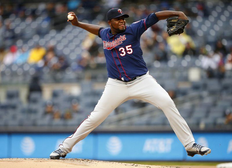 Minnesota Twins starting pitcher Michael Pineda (35) delivers against the New York Yankees in the first inning of a baseball game Sunday, May 5, 2019, in New York. (AP Photo/Noah K. Murray)