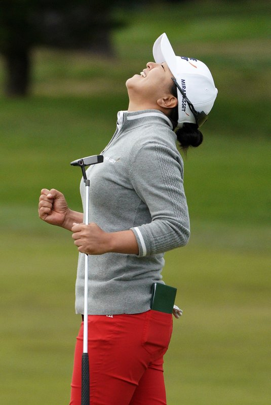 Kim Sei-young, of South Korea, reacts after making a birdie putt on the first playoff hole of the Lake Merced Golf Club to win the LPGA Mediheal Championship golf tournament Sunday, May 5, 2019, in Daly City, Calif. (AP Photo/Tony Avelar)