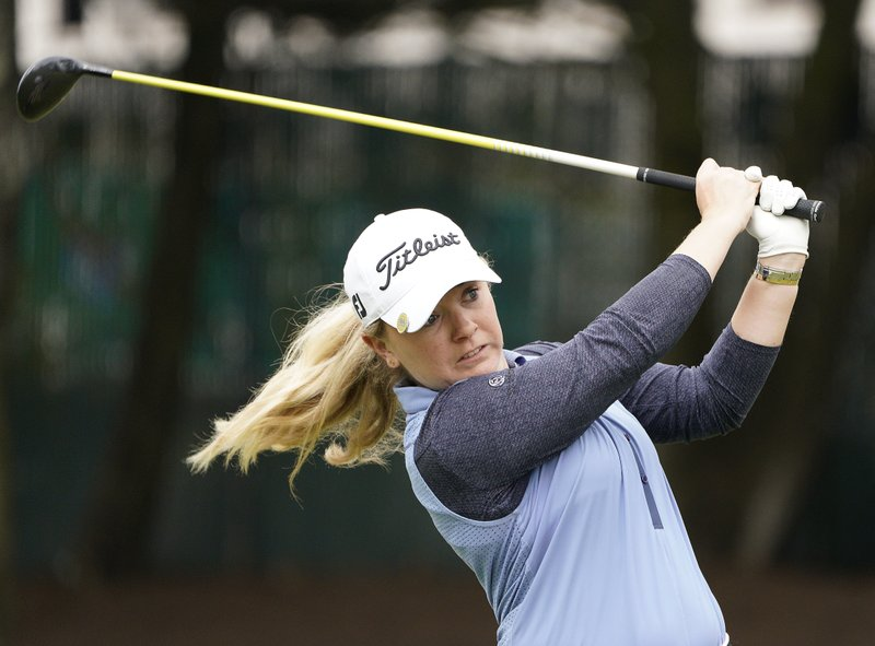 Bronte Law, of England, watches her shot to the 18th green of the Lake Merced Golf Club during the final round of the LPGA Mediheal Championship golf tournament Sunday, May 5, 2019, in Daly City, Calif. (AP Photo/Tony Avelar)