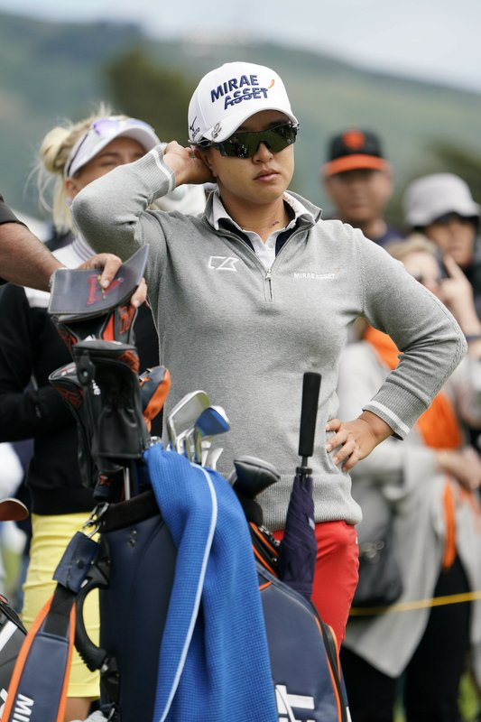 Sei Young Kim, of South Korea, waits to tee off on the sixth tee of the Lake Merced Golf Club during the final round of the LPGA Mediheal Championship golf tournament Sunday, May 5, 2019, in Daly City, Calif. (AP Photo/Eric Risberg)