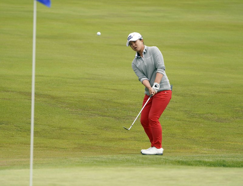 Sei Young Kim, of South Korea, hitss onto the first green of the Lake Merced Golf Club during the final round of the LPGA Mediheal Championship golf tournament Sunday, May 5, 2019, in Daly City, Calif. (AP Photo/Tony Avelar)