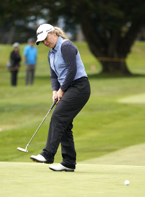 Bronte Law, of England, reacts after missing a birdie putt on the 18th green of the Lake Merced Golf Club during the final round of the LPGA Mediheal Championship golf tournament Sunday, May 5, 2019, in Daly City, Calif. (AP Photo/Tony Avelar)