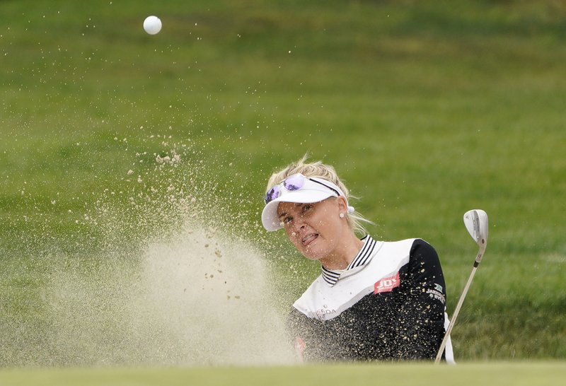 Charley Hull, of England, follows her shot out of a bunker up to the fifth green of the Lake Merced Golf Club during the final round of the LPGA Mediheal Championship golf tournament Sunday, May 5, 2019, in Daly City, Calif. (AP Photo/Tony Avelar)