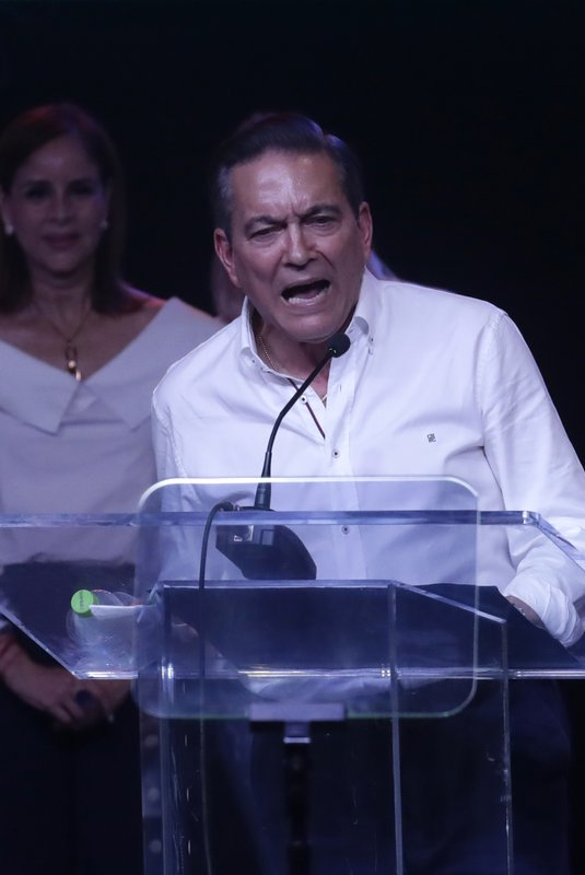 Presidential candidate Laurentino Cortizo, with the Democratic Revolutionary Party, speaks to supporters in Panama City, Monday, May 6, 2019. (AP Photo/Arnulfo Franco)