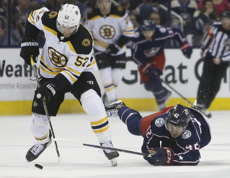 Columbus Blue Jackets' Alexandre Texier, right, of France, tries to steal the puck from Boston Bruins' Sean Kuraly during the first period of Game 6 of an NHL hockey second-round playoff series Monday, May 6, 2019, in Columbus, Ohio. (AP Photo/Jay LaPrete)