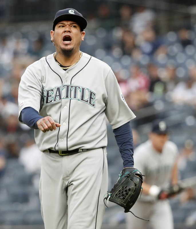 Seattle Mariners starting pitcher Felix Hernandez reacts while leaving the mound after allowing a two-run home run to New York Yankees' Luke Voit during the first inning of a baseball game, Monday, May 6, 2019, in New York. (AP Photo/Kathy Willens)
