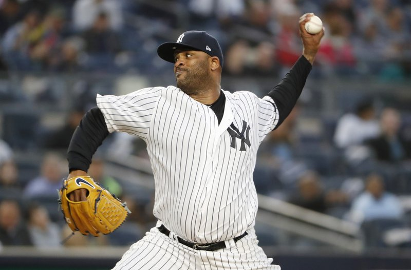 New York Yankees starting pitcher CC Sabathia winds up during the third inning of a baseball game against the Seattle Mariners, Monday, May 6, 2019, in New York. (AP Photo/Kathy Willens)