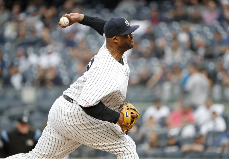 New York Yankees starting pitcher CC Sabathia winds up during the first inning of a baseball game against the Seattle Mariners, Monday, May 6, 2019, in New York. (AP Photo/Kathy Willens)