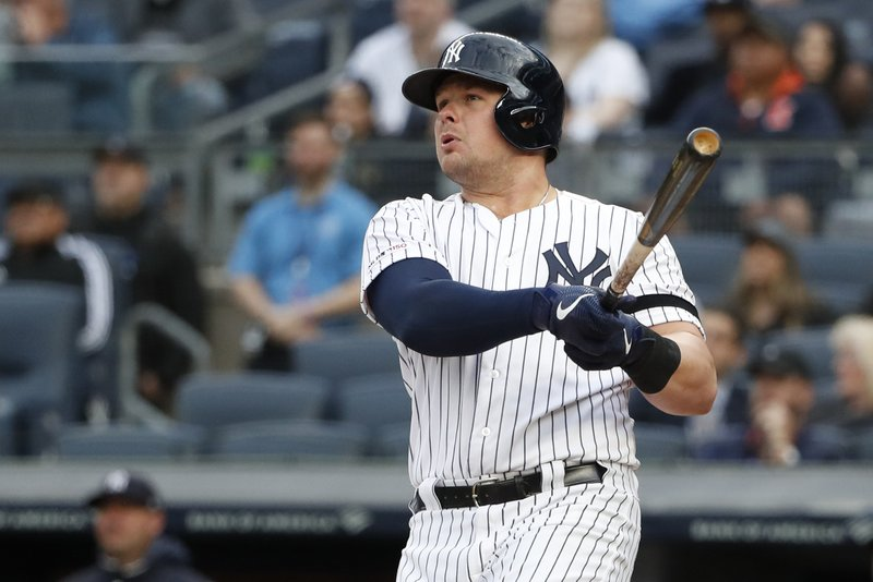 New York Yankees' Luke Voit watches his first-inning two-run home run off Seattle Mariners starting pitcher Felix Hernandez during a baseball game, Monday, May 6, 2019, in New York. (AP Photo/Kathy Willens)