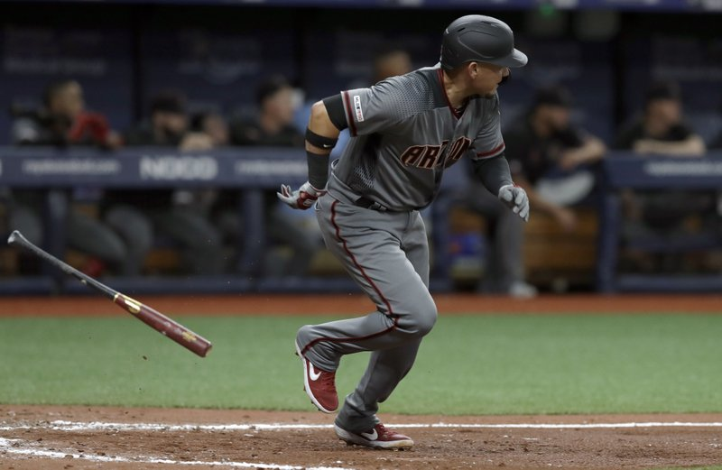 Arizona Diamondbacks' Ildemaro Vargas singles off Tampa Bay Rays starting pitcher Blake Snell, breaking up Snell's no-hitter, during the sixth inning of a baseball game Monday, May 6, 2019, in St. (AP Photo/Chris O'Meara)